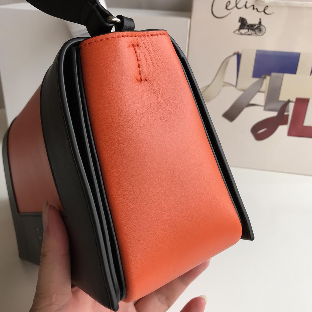 Celine家 Frame 唐嫣同款 复古风 单肩背 容量大 25*8.5*17cm 黑色拼经典橘红