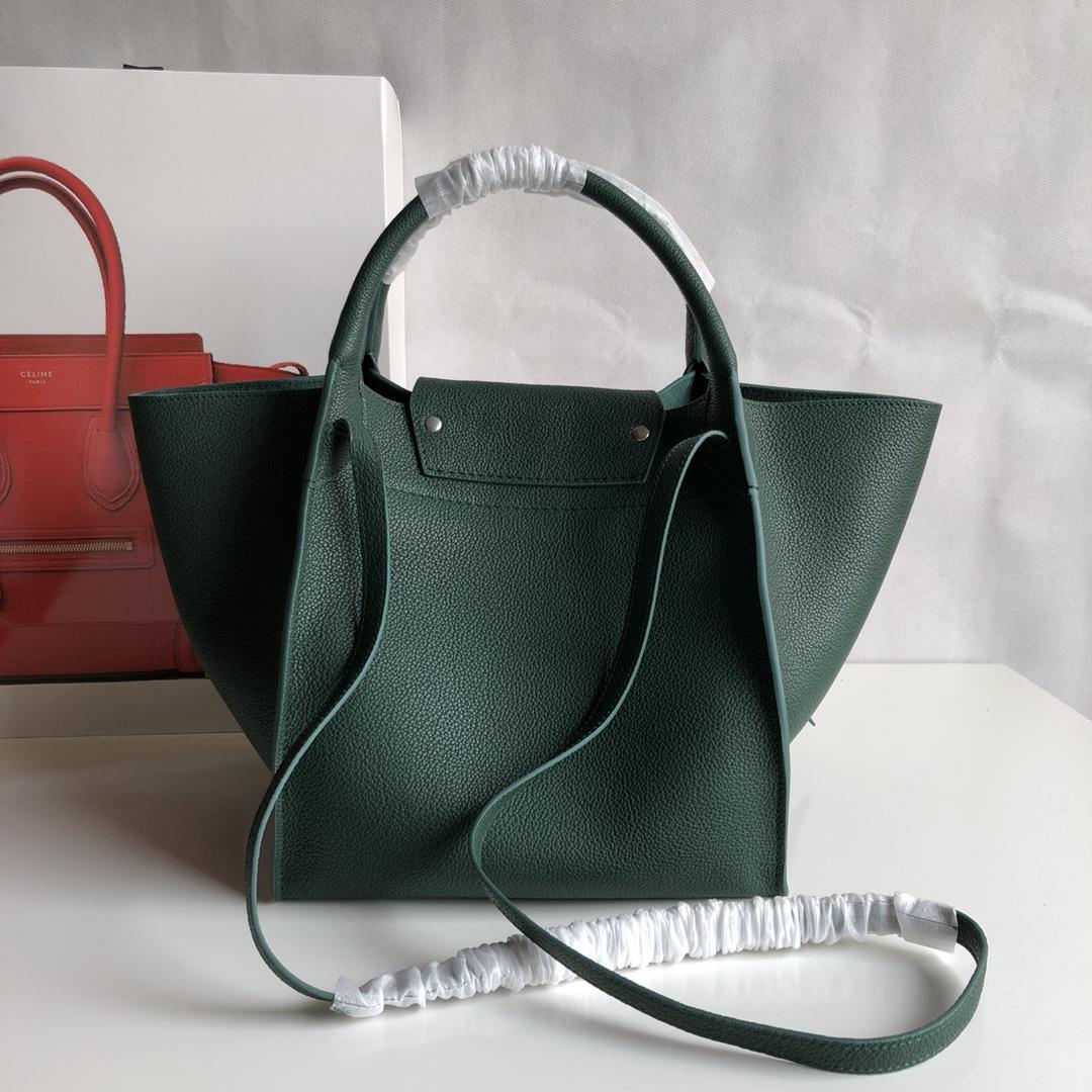 Big bag 荔枝纹 小牛皮 24*22*26cm 墨绿色 原厂进口五金