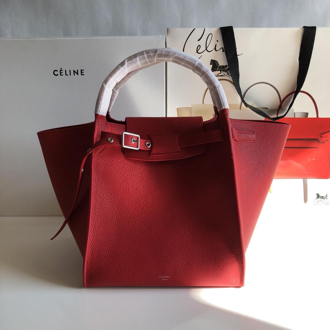 Big bag 荔枝纹 小牛皮 24*22*26cm 大红色 定制进口五金