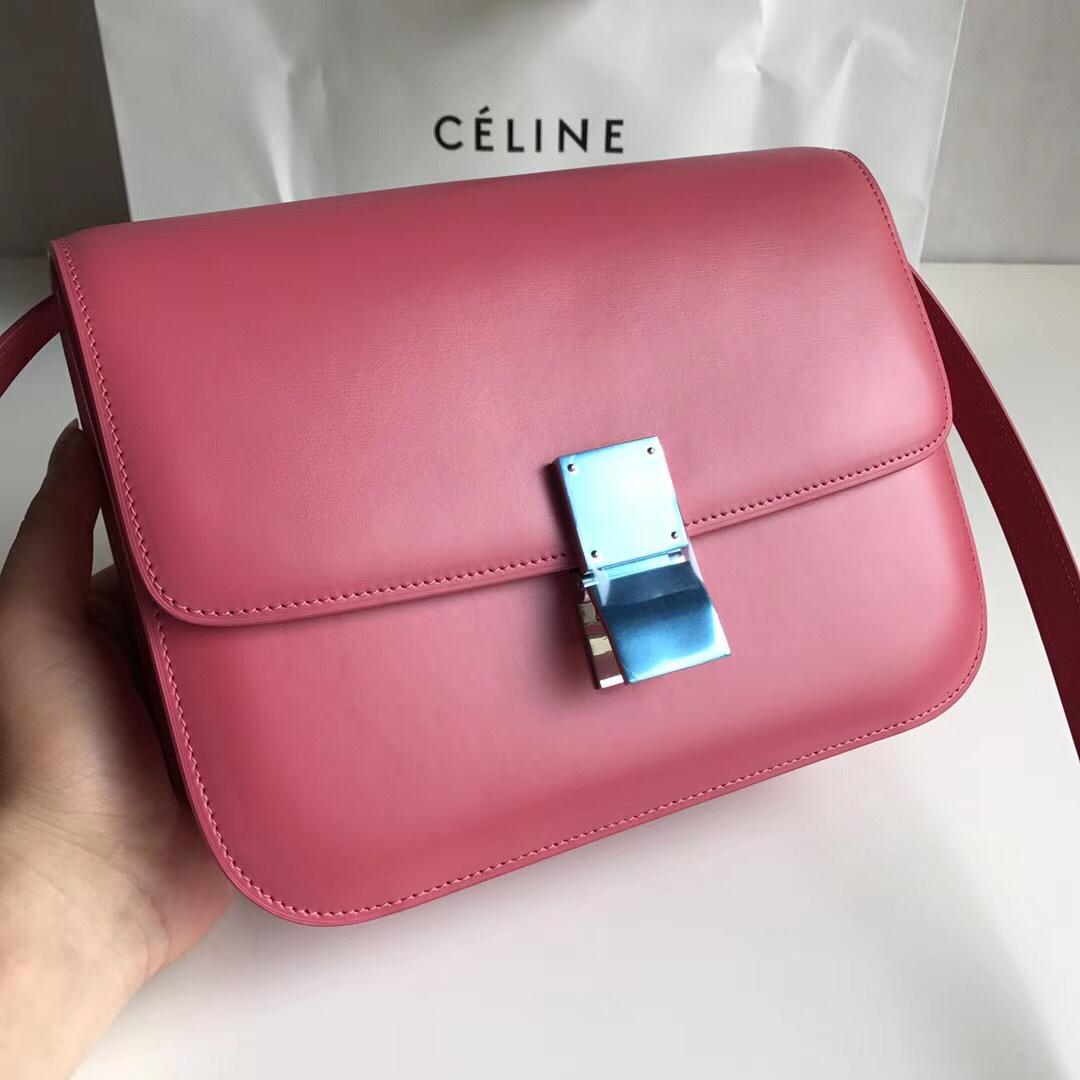 CELINE Classic box 全新品质升级 box 进口皮手搓纹 钢扣 24cm 玫红