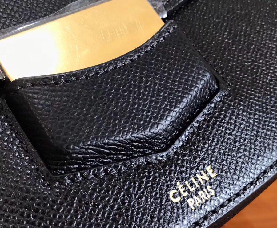 Celine Trotteur复古马鞍包 手掌纹 19cm/23Cm  黑色 厂家直销