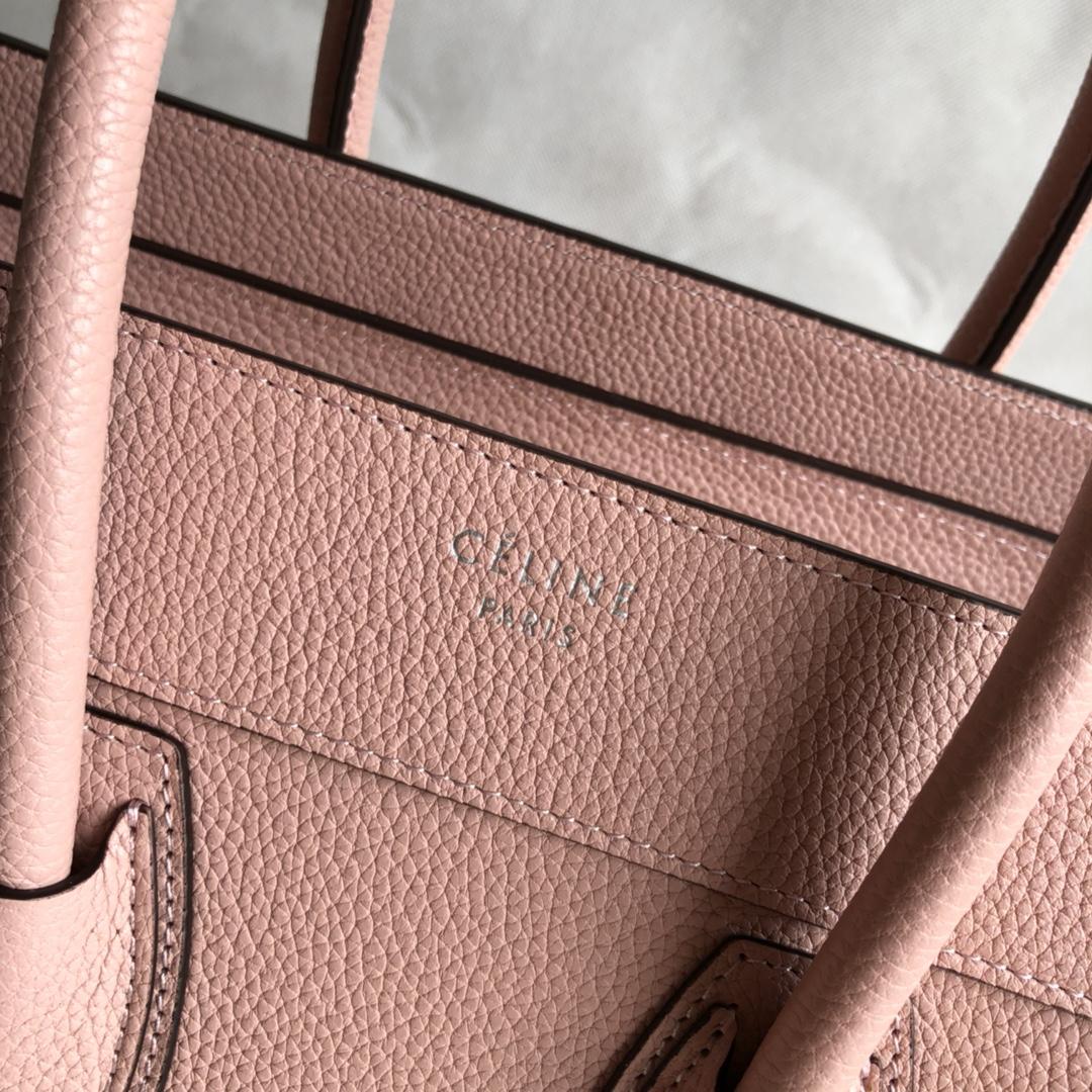 CELINE 新色笑脸包 海外原单 LUGGAGE牛皮手袋 金色五金 26cm 粉色 荔枝纹