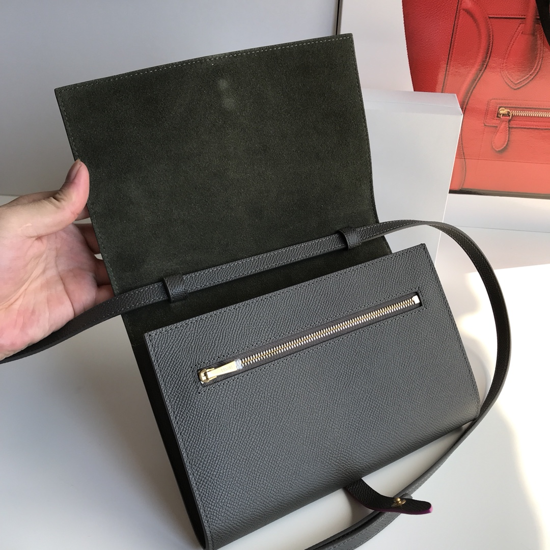 CELINE包包官网 19厘米 灰色拼玫红 单肩斜挎小包