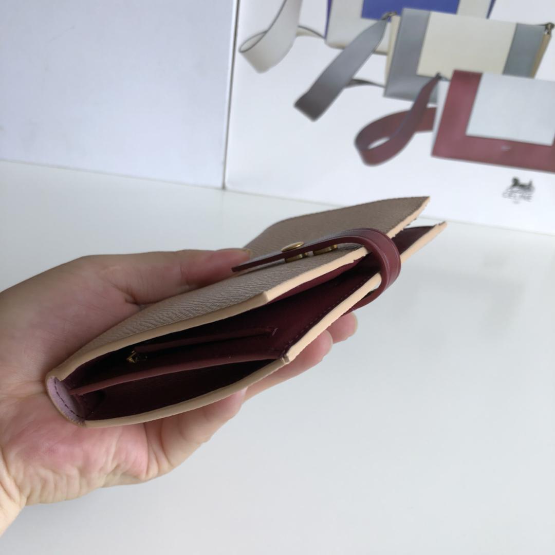 CELINE 搭扣钱夹 14厘米 杏黄掌纹/酒红 专柜同步钱包