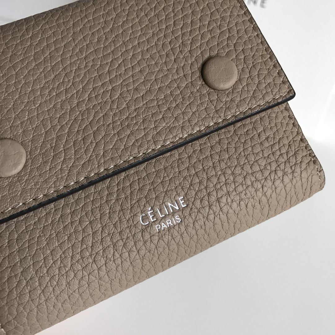 CELINE 12厘米 杏色 荔枝纹 翻盖钱包 原厂定制五金