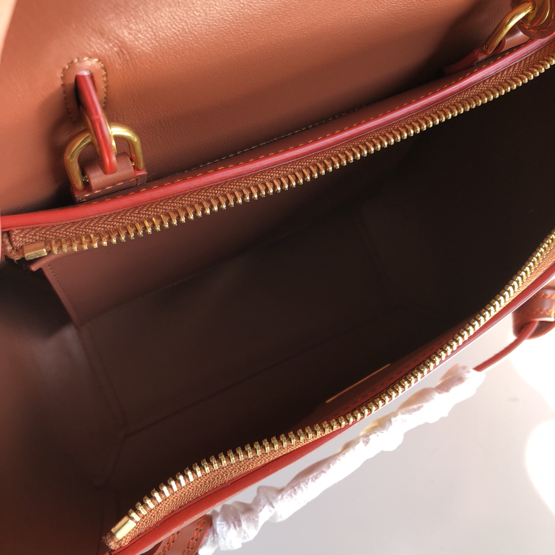 CELINE包包官网 鲶鱼包 红棕色 手搓纹 磨砂牛皮里衬 BELT手袋 28cm 24cm