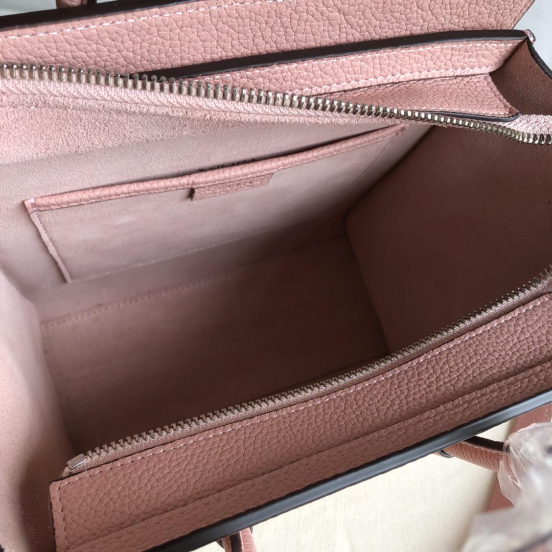 CELINE 新色笑脸包 海外原单 LUGGAGE牛皮手袋 金色五金 20cm 粉色 荔枝纹
