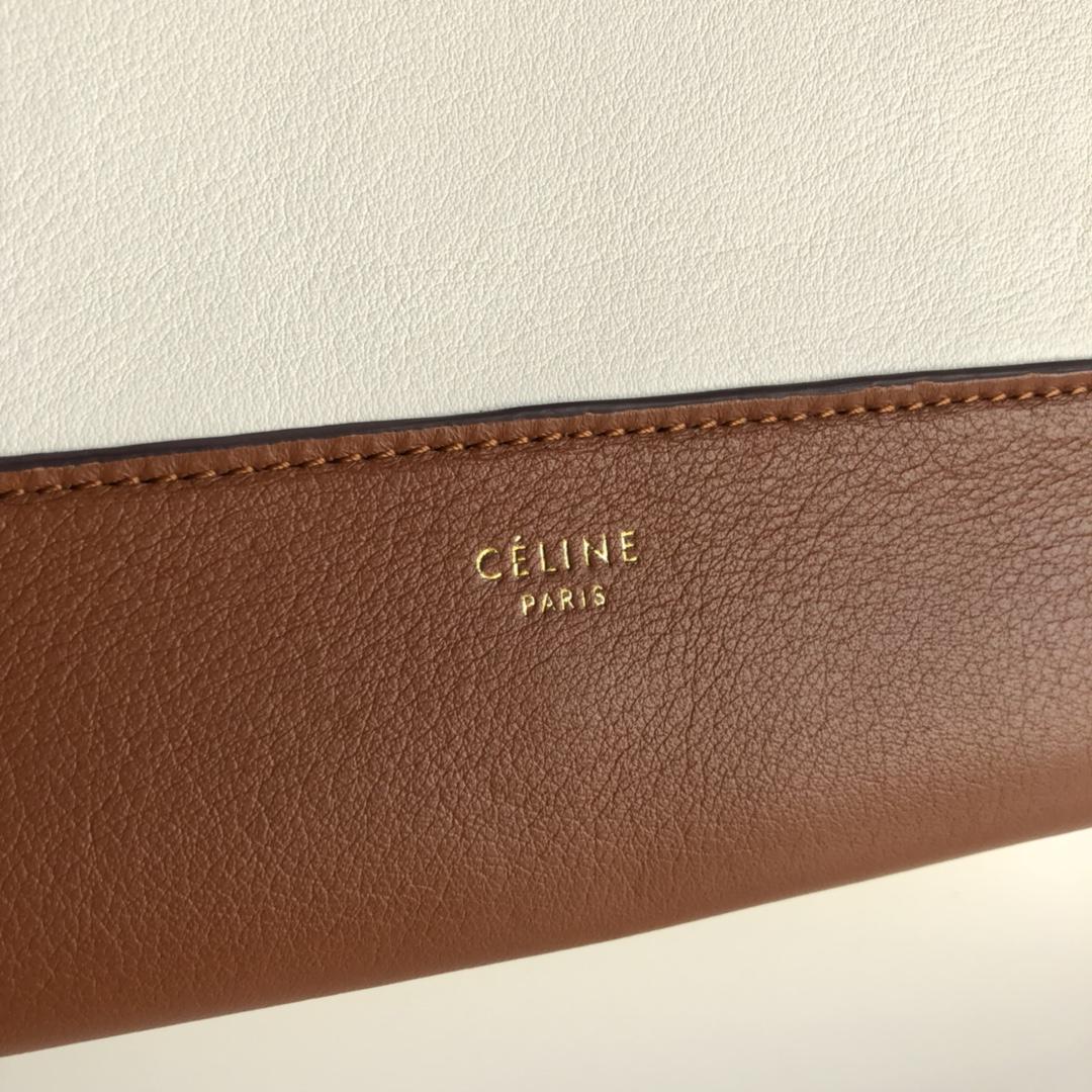 Celine家 Frame 唐嫣同款 复古风 单肩背 容量大 25*8.5*17cm 焦糖色拼白色