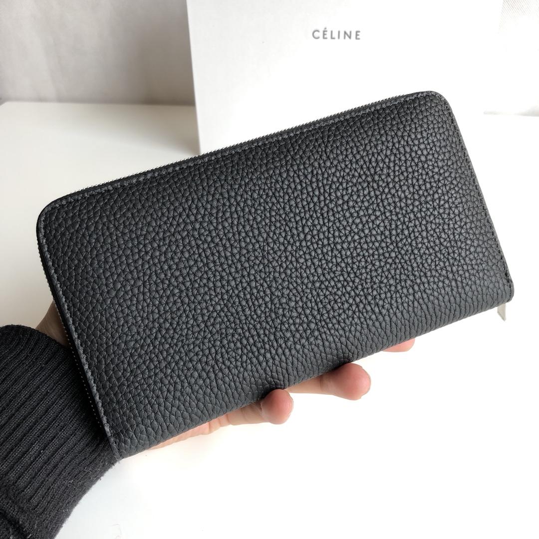 CELINE 19厘米 黑色 荔枝纹 拉链钱包 原厂定制五金