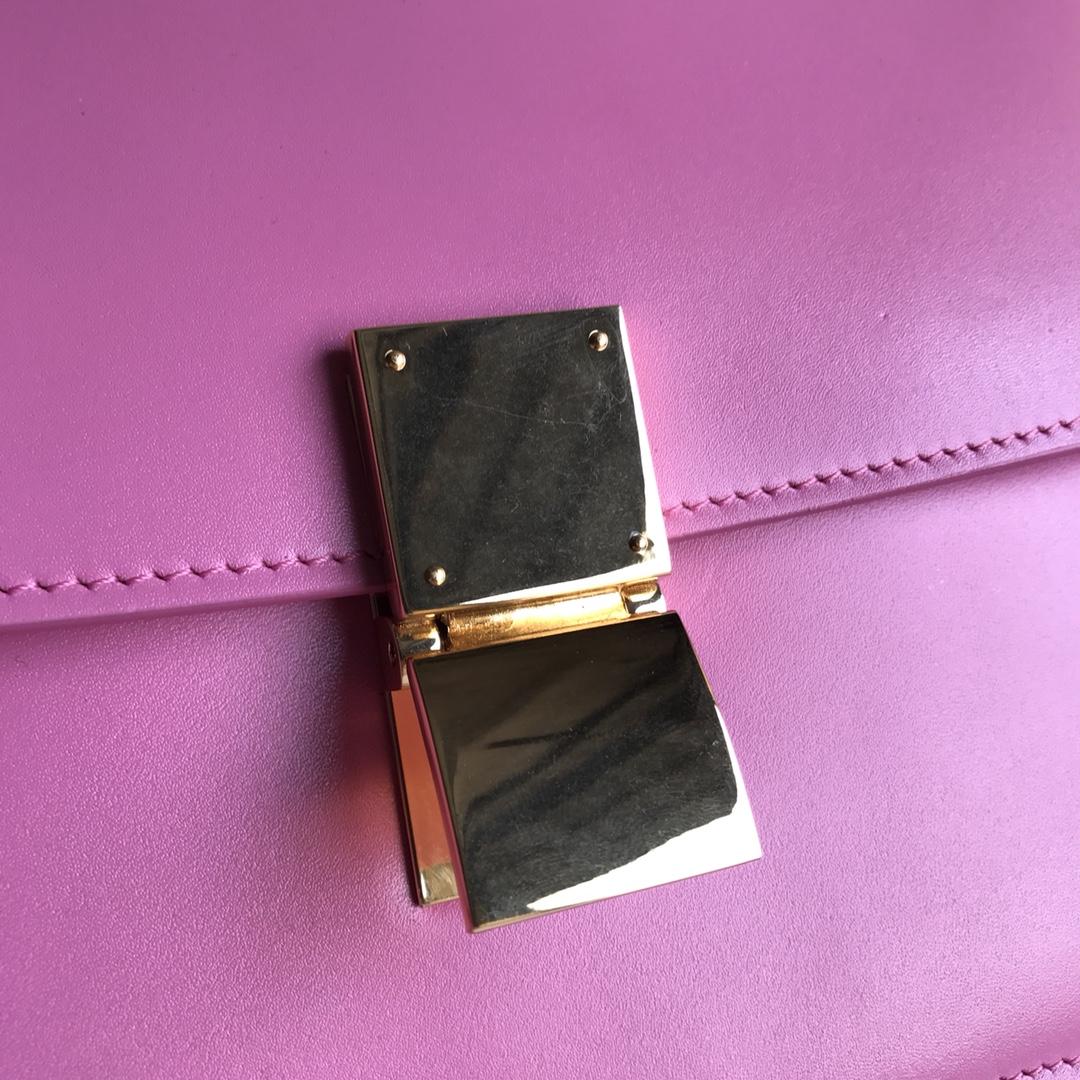 CELINE全新升级classic box 芭比粉 水晶皮 平纹 金扣 搭配羊皮内里 完美复古包 24cm