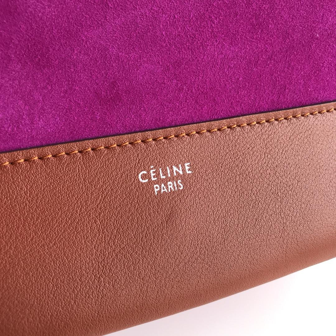 Celine家 Frame 唐嫣同款 复古风 单肩背 容量大 25*8.5*17cm 焦糖色拼绒面艳玫红