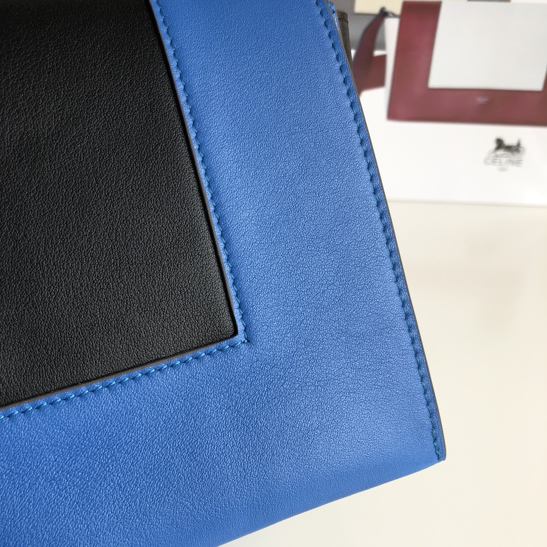 Celine家 Frame 唐嫣同款 复古风 单肩背 容量大 25*8.5*17cm 中蓝色拼黑色