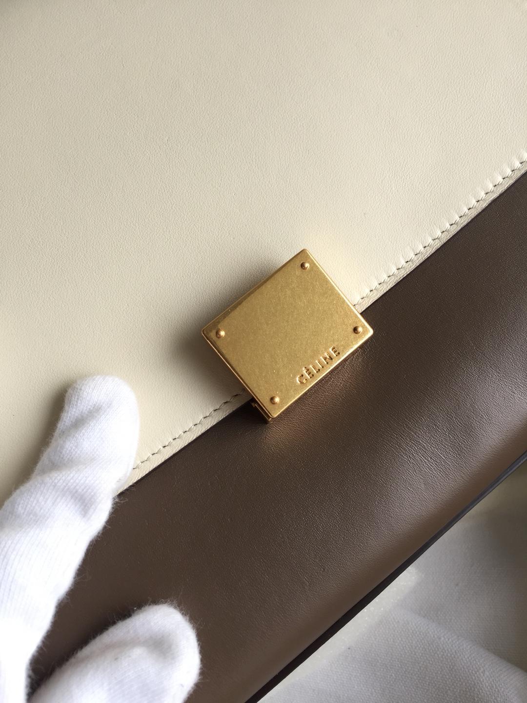 秋千包 海外原单 TRAPEZE拼色 银扣 26cm 风衣灰拼杏粉色