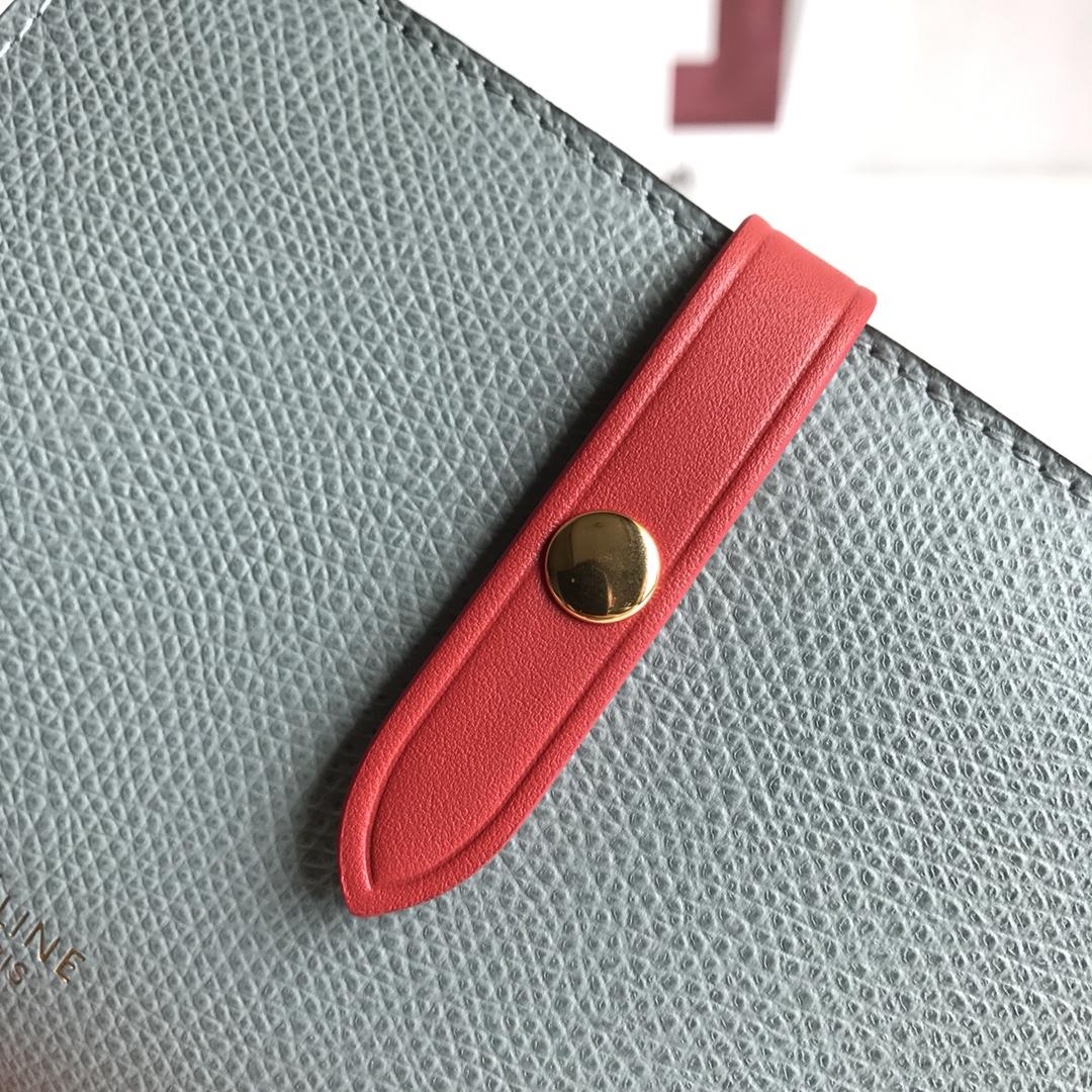 CELINE 搭扣钱夹 14厘米 云雾色掌纹/玫红 专柜同步钱包