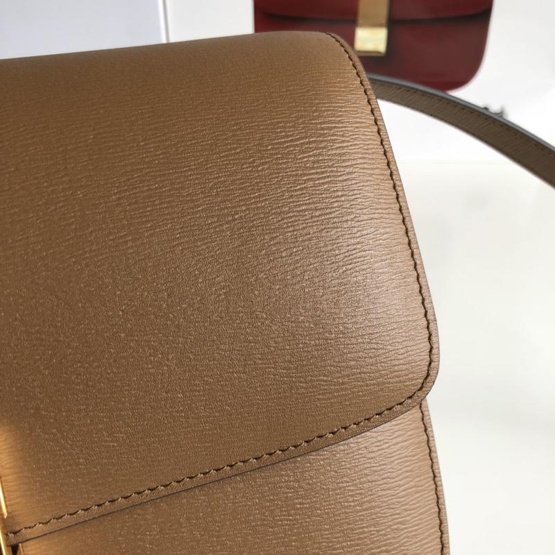 CELINE 全新升级classic box 焦糖色水波纹 配羊皮内里 金扣 完美复古包 24cm
