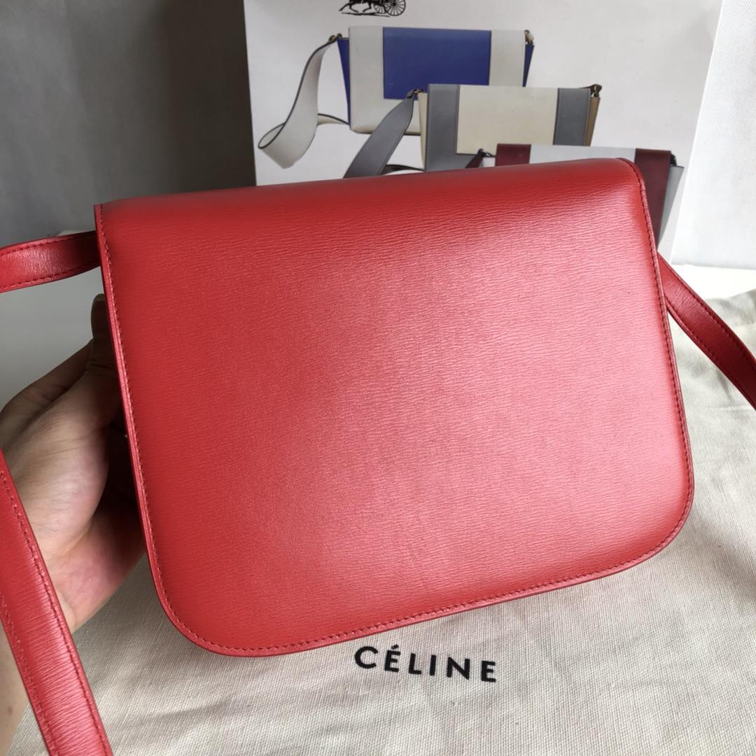 CELINEClassic box水波纹 大红 进口原厂皮