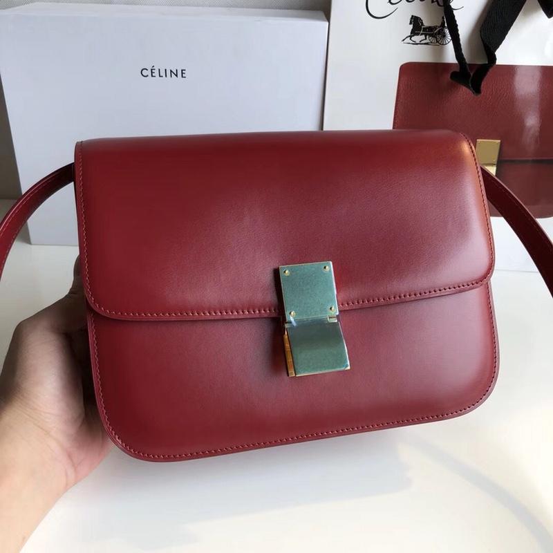 CELINE Classic box 全新品质升级 box 进口皮手搓纹 钢扣 24cm 深红色