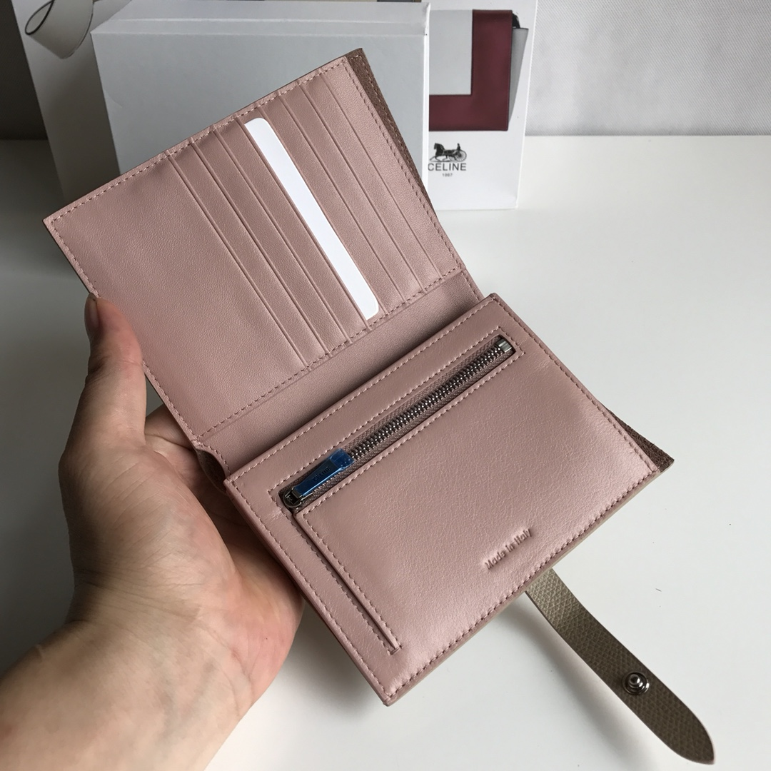 CELINE 搭扣钱夹 14厘米 杏色掌纹/粉红 专柜同步钱包