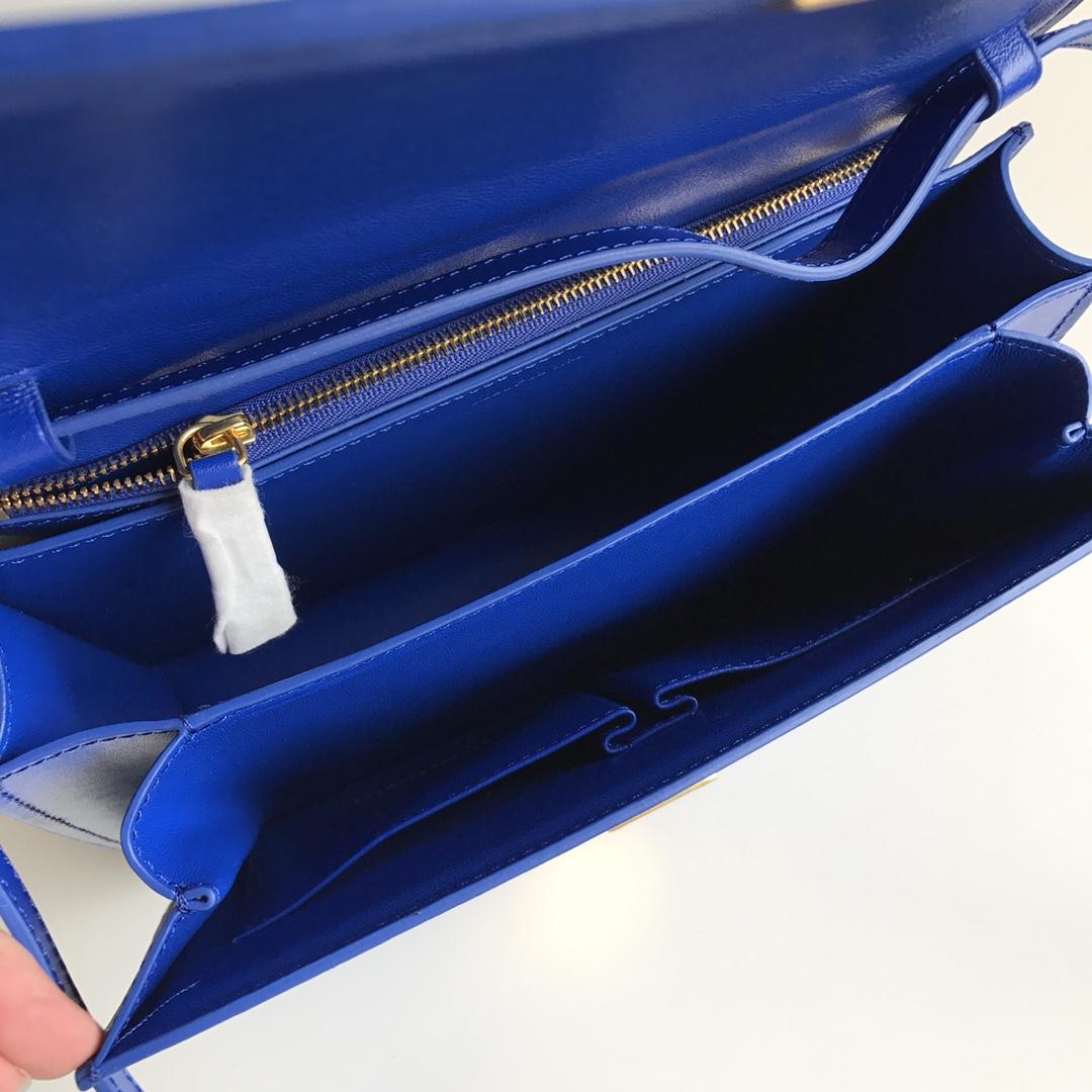 CELINE全新升级classic box 电光蓝 水晶皮 平纹 金扣 搭配羊皮内里 完美复古包 24cm