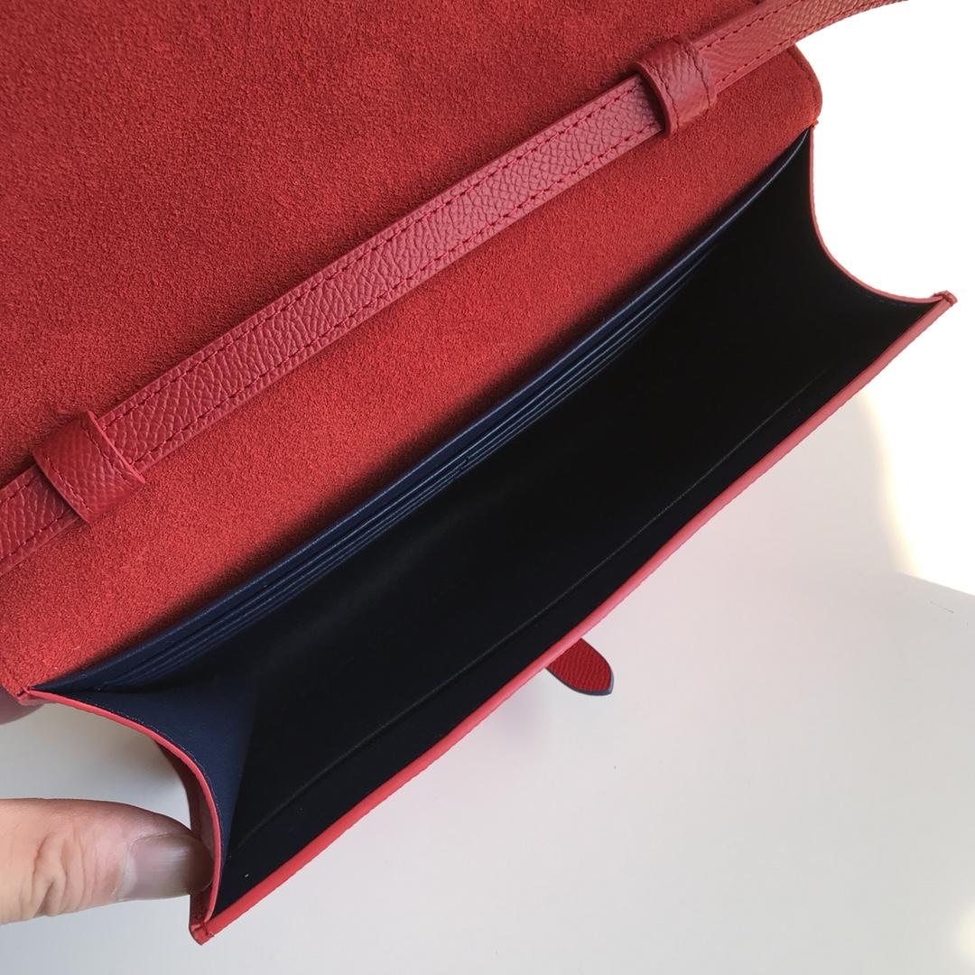 CELINE包包官网 19厘米 大红拼宝蓝 单肩斜挎小包