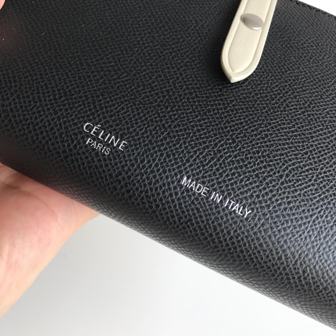 CELINE 搭扣钱夹 19厘米 黑色掌纹/米白 专柜同步钱包
