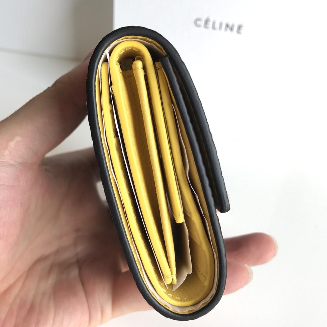CELINE 12厘米 黑色 荔枝纹 翻盖钱包 原厂定制五金
