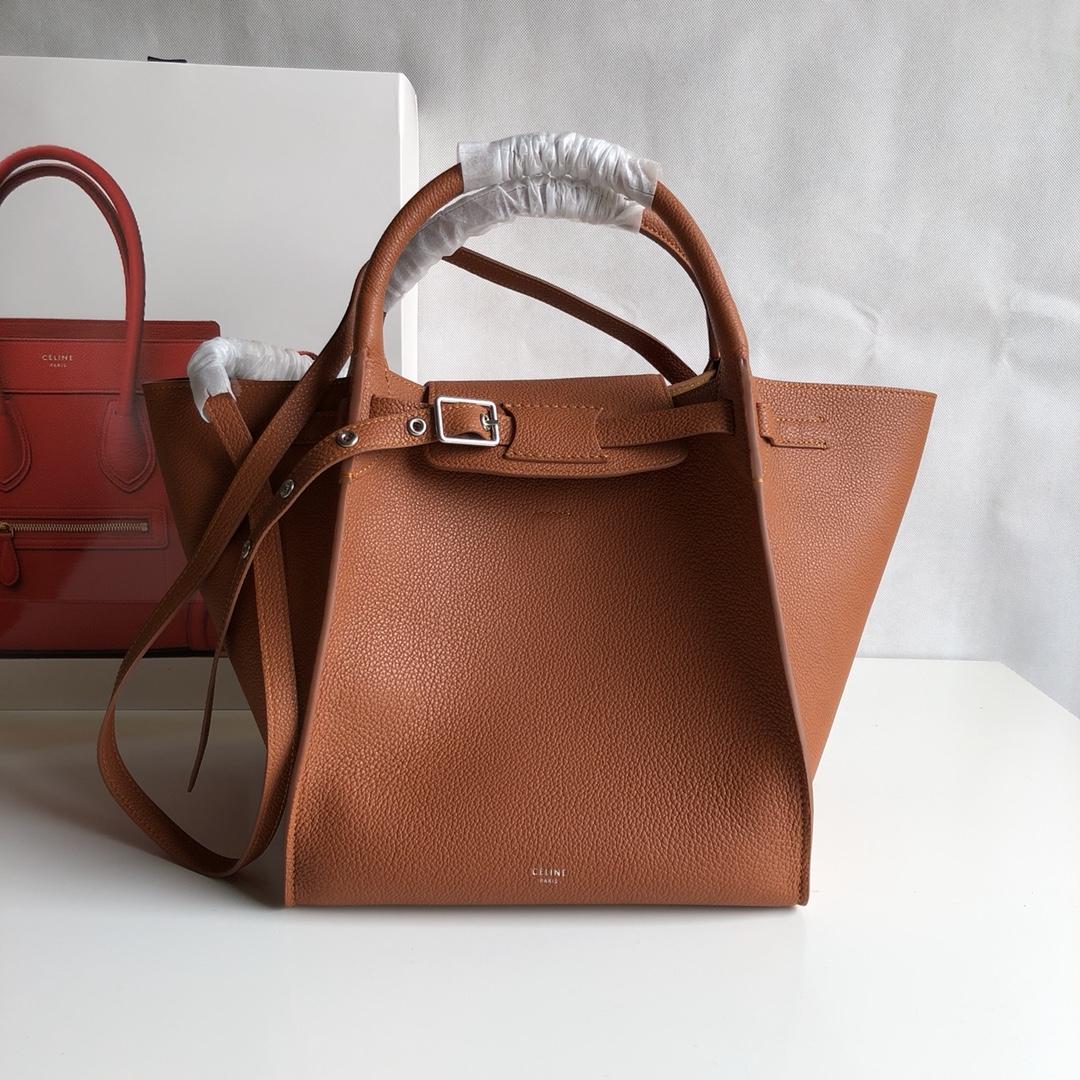 Big bag 荔枝纹 小牛皮 24*22*26cm 栗子色 原厂进口五金