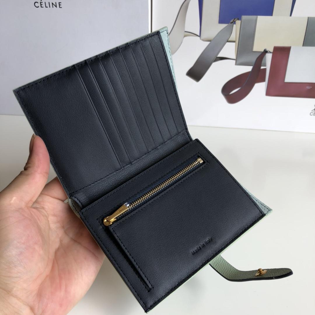 CELINE 搭扣钱夹 14厘米 薄荷绿掌纹/宝蓝 专柜同步钱包