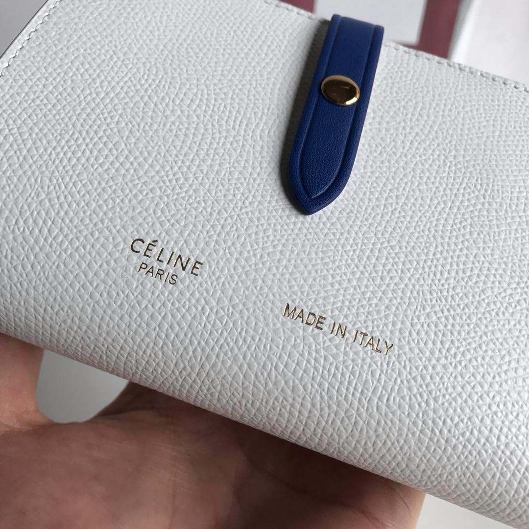CELINE 搭扣钱夹 14厘米 白色掌纹/电光蓝 专柜同步钱包