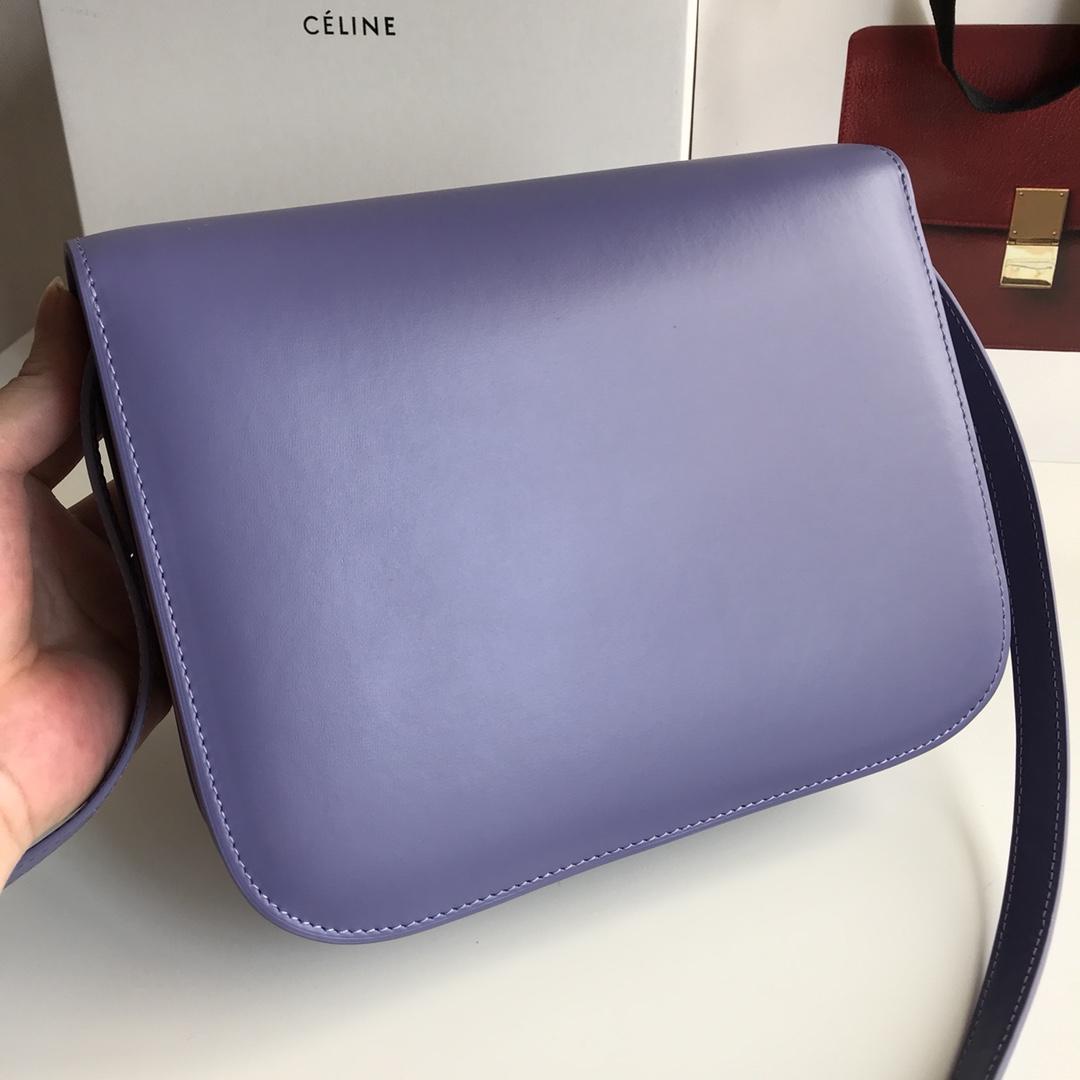 CELINE 全新升级classic box 紫色手搓纹金银扣 搭配羊皮内里 完美复古包 24cm