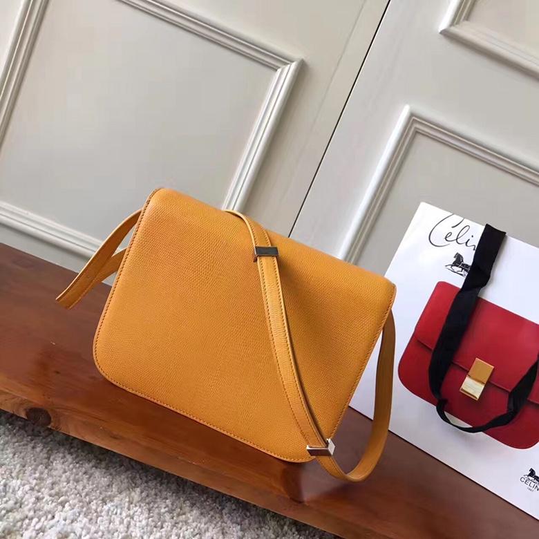 CELINE官网 classic box蜥蜴纹 黄色 厂家直销