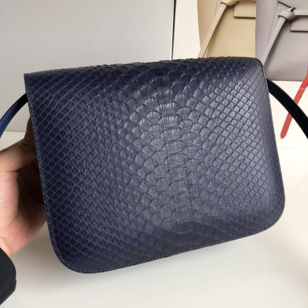 CELINE官网 classic box 24cm 真蛇皮 金扣 宝蓝色