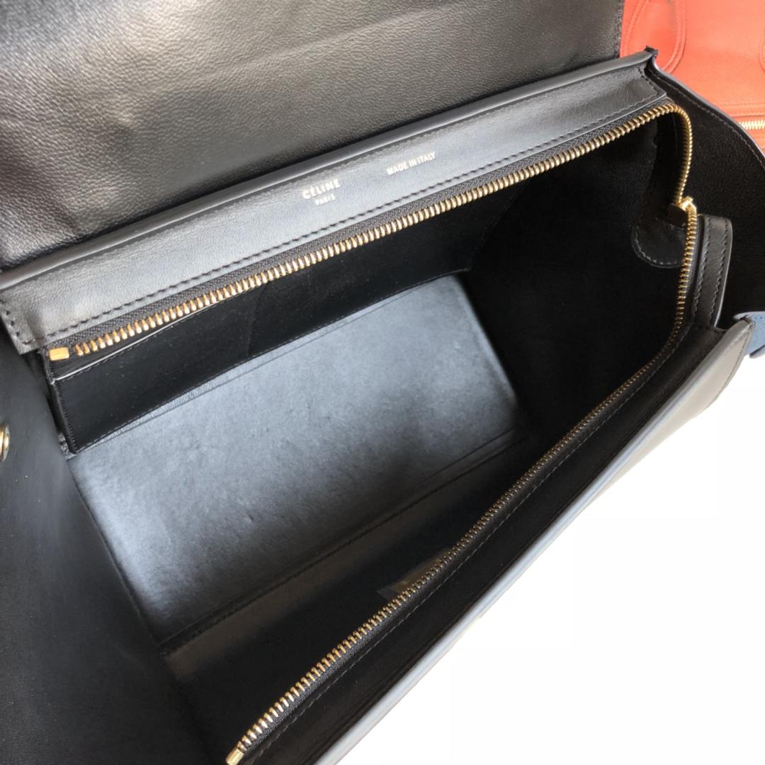 秋千包 海外原单 TRAPEZE拼色 银扣 26cm 深蓝色拼黑色