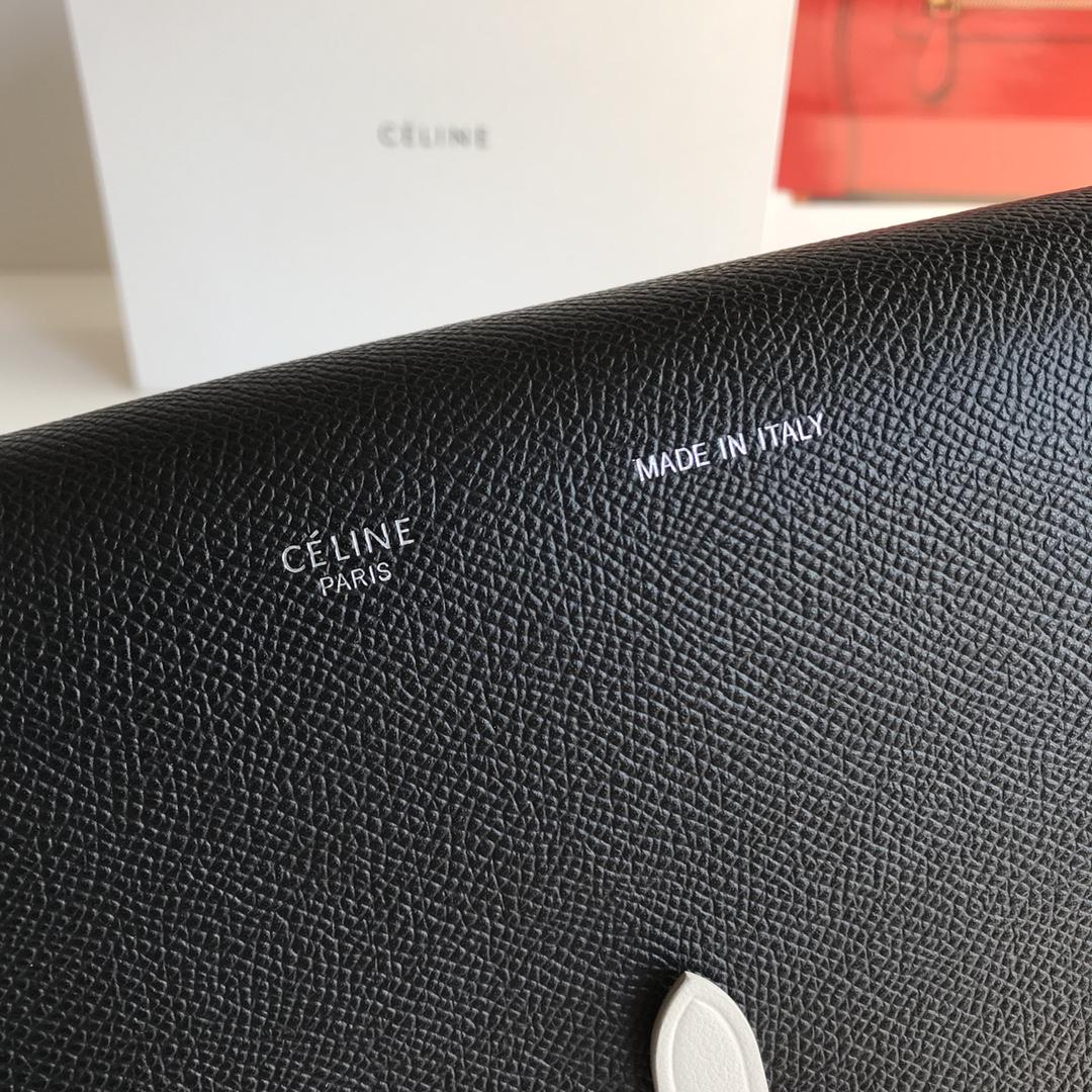 CELINE包包官网 19厘米 黑色拼白色 单肩斜挎小包