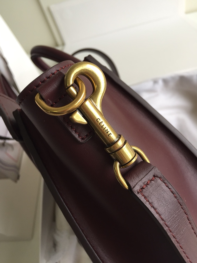 CELINE 新色笑脸包 海外原单 LUGGAGE牛皮手袋 金色五金 20cm