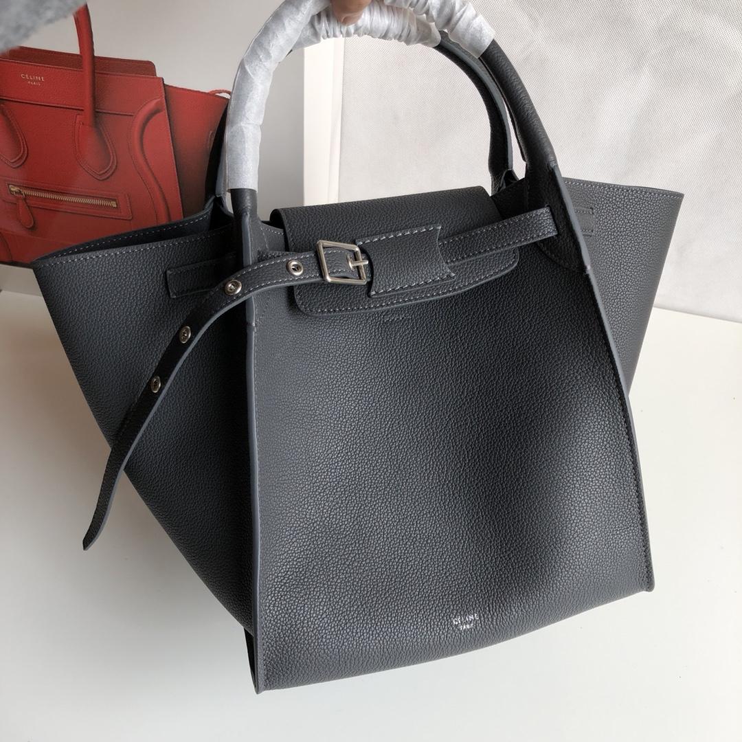 Big bag 荔枝纹 小牛皮 24*22*26cm 炭灰色 原厂进口五金