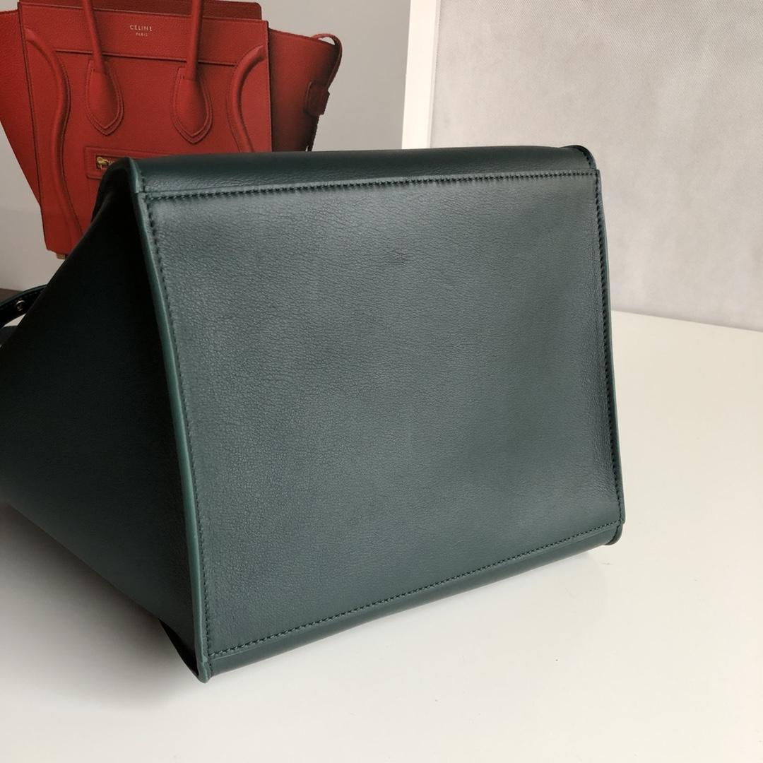 Big bag 平纹 小牛皮 24*22*26cm 墨绿色 原厂进口五金