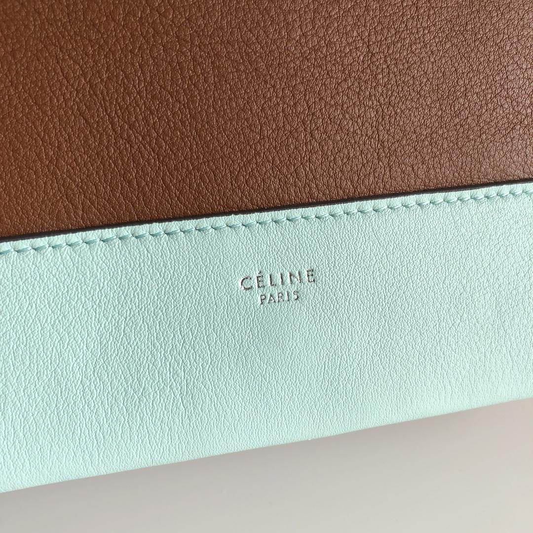 Celine家 Frame 唐嫣同款 复古风 单肩背 容量大 25*8.5*17cm 薄荷绿拼焦糖色