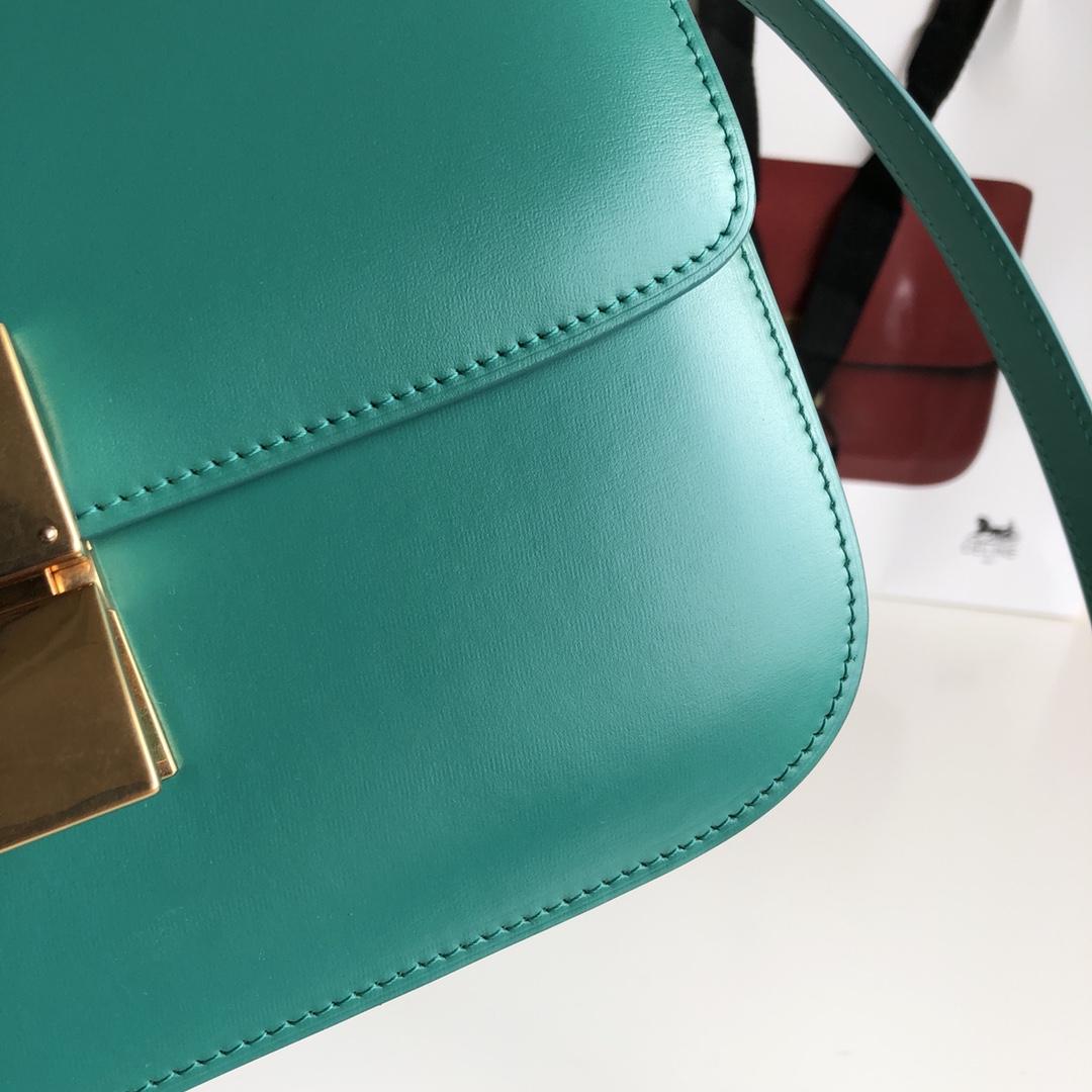 CELINE 全新升级classic box 孔雀绿手搓纹金银扣 搭配羊皮内里 完美复古包 24cm