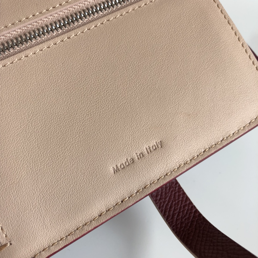CELINE 搭扣钱夹 14厘米 酒红掌纹/杏黄 专柜同步钱包