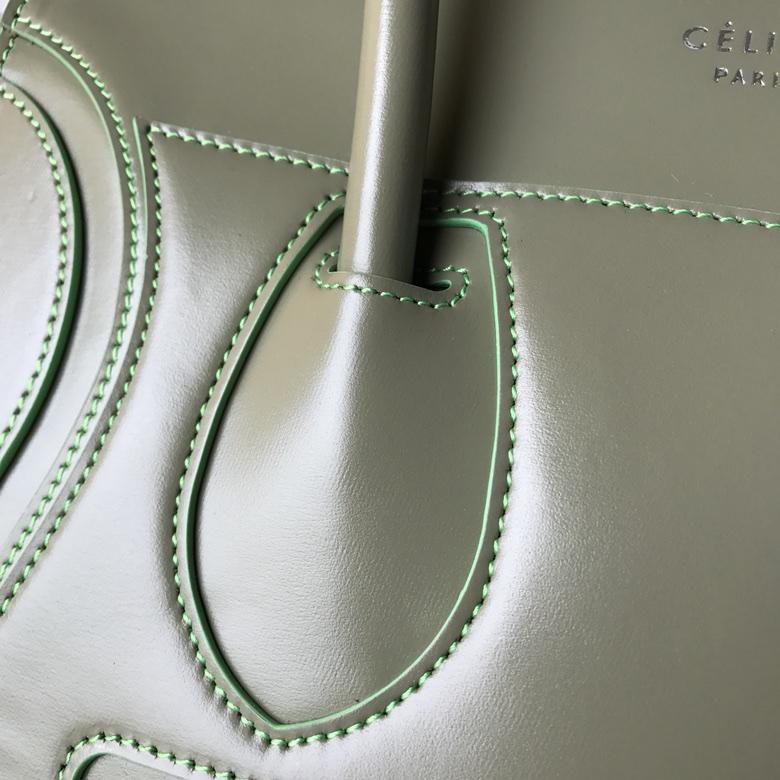 CELINE 笑脸包 椰子绿 手搓纹 银扣 26cm 海外原单