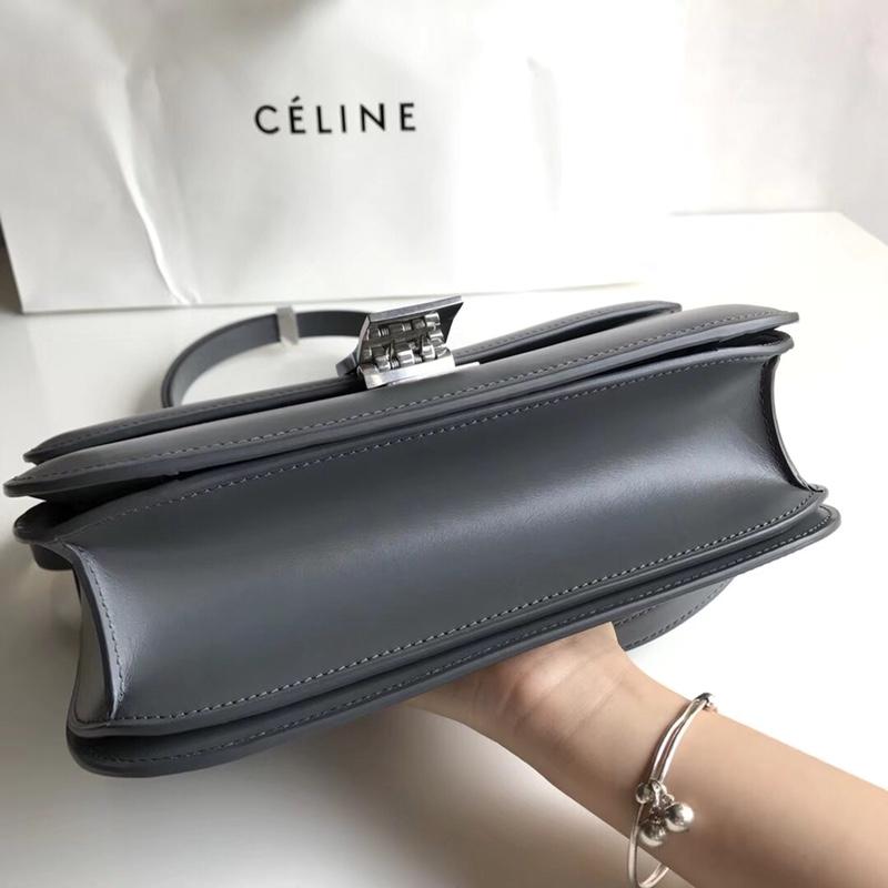 CELINE Classic box 全新品质升级 box 进口皮手搓纹 钢扣 24cm 锡器灰