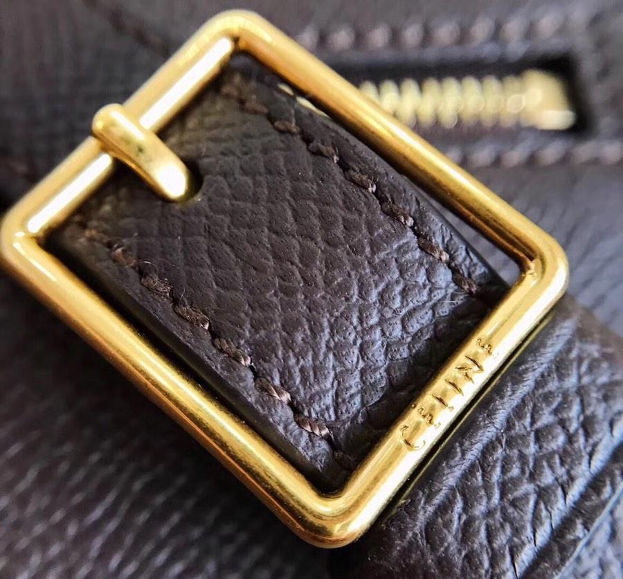 Celine Trotteur复古马鞍包 手掌纹 咖啡色 金扣 一件代发