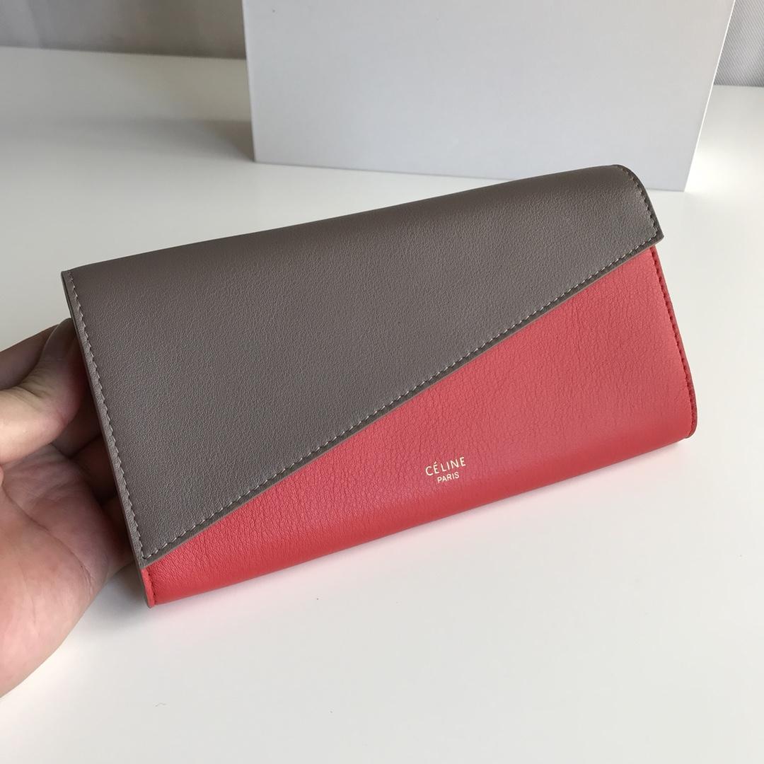 CELINE官网 19厘米灰色拼珊瑚红钱包