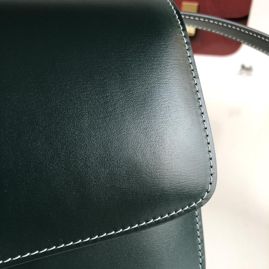 CELINE 全新升级classic box 墨绿手搓纹金银扣 搭配羊皮内里 完美复古包 24cm