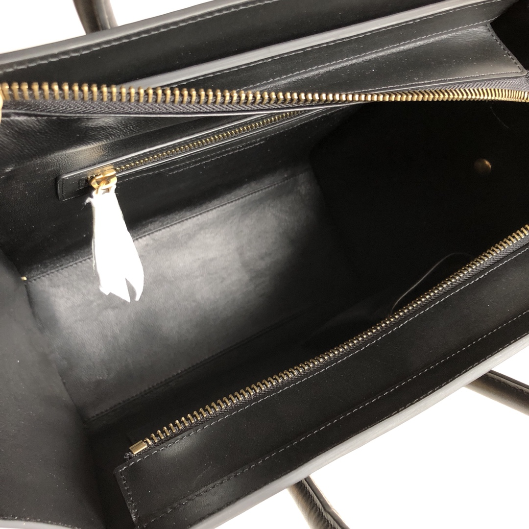 新色笑脸包 黑色纳帕拼杏黄蜥蜴纹 海外原单MICROLUGGAGE牛皮手袋 26cm