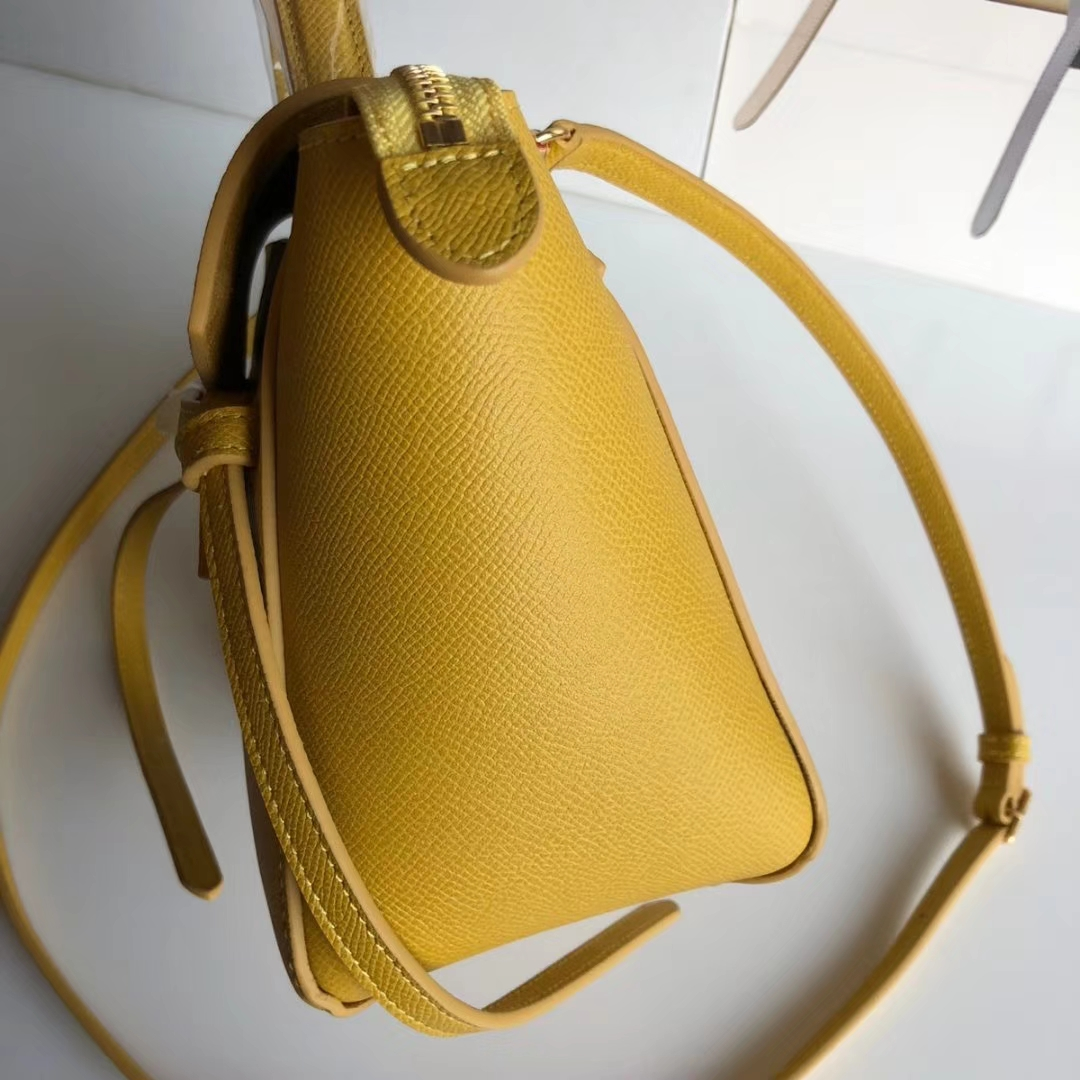 CELINE 鲶鱼包 黄色 金扣 手掌纹 女王BELT手袋 磨砂牛皮里衬 20cm