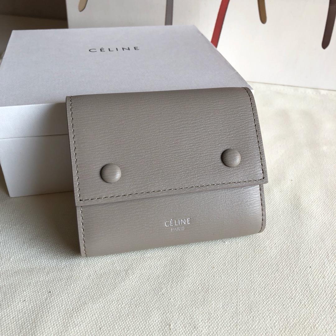 CELINE12厘米浅灰色 水波纹三折钱包原厂定制五金