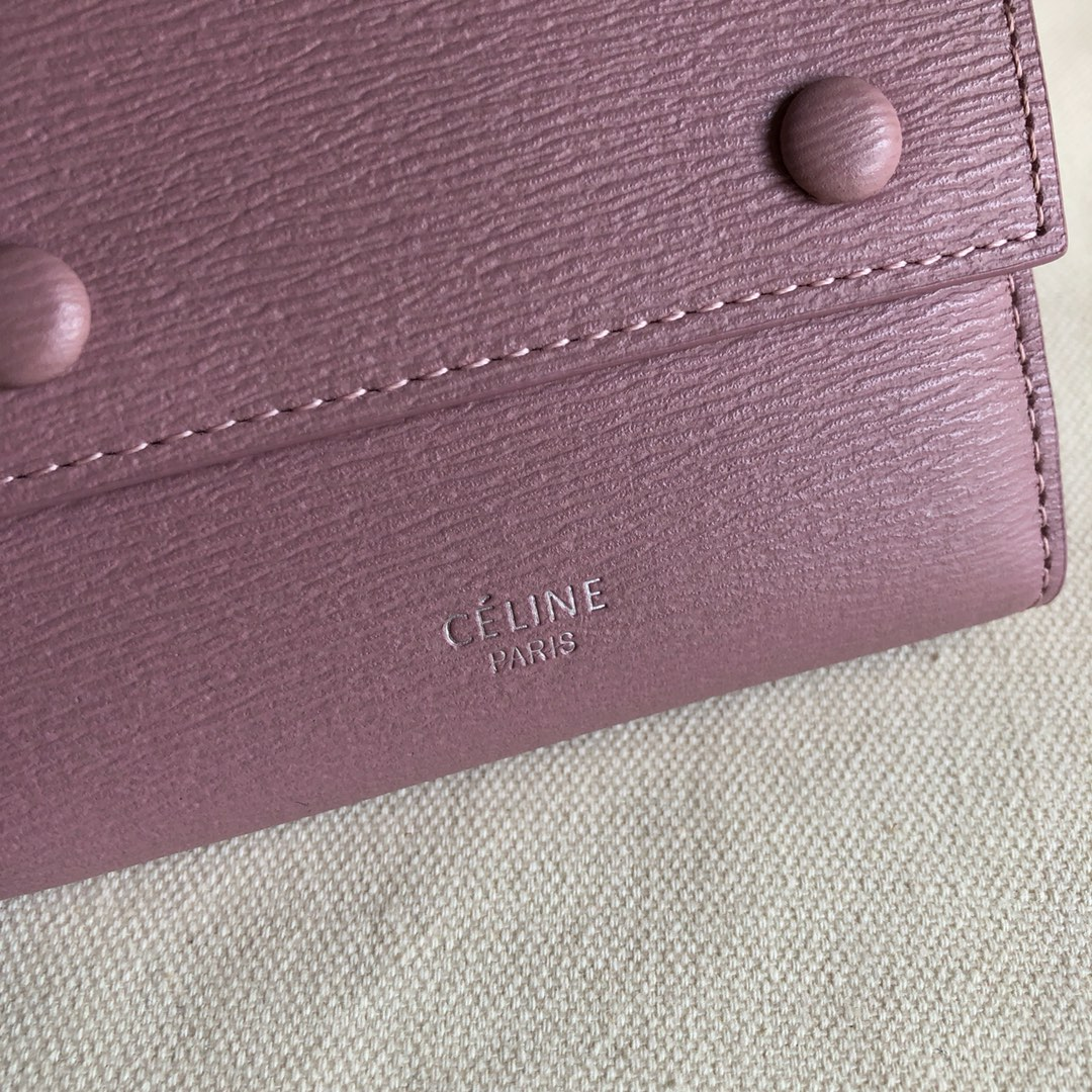 CELINE12厘米 粉色 水波纹三折钱包原厂定制五金