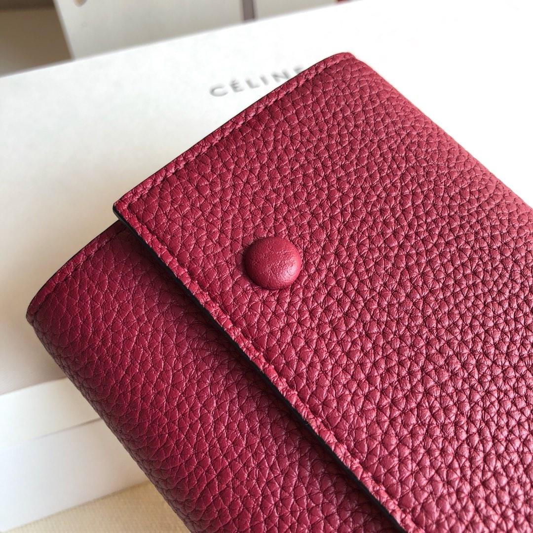 CELINE 0172紫红荔枝纹/紫色 19cm 长款钱包 卡包